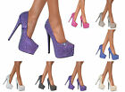 Womens New High Pointed Court Shoes Ladies Stiletto Heel Glittery Platform Pumps