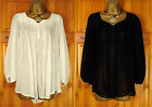 NEW NEXT LADIES BLACK OR IVORY WHITE FLOATY LOOSE FIT CHIFFON BLOUSE TOP UK 6-20