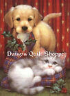 Fabric Art Quilt Block *Christmas Pets*  13-1499 FREE SHIPPING