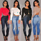 Autumn Women O-neck Long Sleeve Backless Slim Crop Tops Shirt Blouse Clubwear