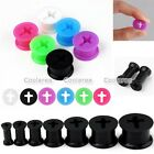 "Pair 6g-9/16"" Silicone Cross Flared Ear Tunnels Plugs Expander Stretcher Gauges"