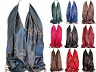 Reversible Luxury Floral Two Sided Pashmina Feel Wrap Shawl Scarf Stole Hijab