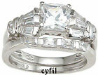 2.08C Princess Cut Baguette Engagement Wedding Bridal Ring Set
