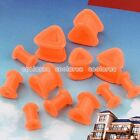 Pair Orange Flexible Silicone Triangle Ear Tunnels Plugs Stud Expander Stretcher