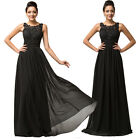Long BLACK Chiffon Prom Bridesmaid Evening Gown Party Formal Ball Wedding Dress