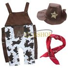 6-24M Baby Boys Sheriff Cowboy Overall Hat Handkerchief 3pcs Costume Set Outfit