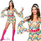 Retro Go Go Girl (Pink & Blue Swirl) Adult Ladies Fancy Dress Costume 70's 60's