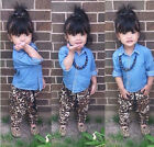 New Baby Girls Clothing Set Blue Top T-Shirt +Leopard pants Outfit fit 2-6Years