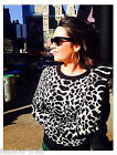 New TOPSHOP Knitted Animal Quilted Jumper Monochrome Sweater Sweatshirt UK10 12