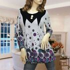 GRAY/BLACK VELVET UNIQUE PATTERN LONG SLEEVE TUNIC TOP 1270 SIZE S M L