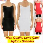Long Cami Basic Top Slip Camisole Adjustable Strap Tight Spandex&Nylon 6 8 10