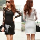 Chic Long Sleeve Lace Patchwork Womens Shift Sexy Mini Dress Top Fashion Solid