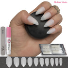 500 POINTED STILETTO Fake NAILS FULL COVER Natural Opaque Tips ✅ FREE GLUE Vixi
