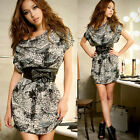 Loose Fit Allover Animal Print Cowl Neck Women's Night Out Club Party Mini Dress