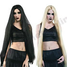 "LADIES 40"" LONG BLACK BLONDE WIG MORTICIA RAPUNZEL HALOWEEN WITCH FANCY DRESS"