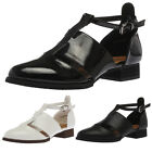 LADIES T-BAR WOMENS CUT OUT FAUX LEATHER FLAT OFFICE SHOES PUMPS SIZE 3-8
