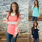 Fashion Summer Fashion Lady Lace Womens Long Sleeve T-shirt Casual Tops Blouse