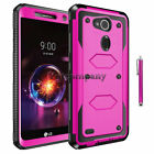 "Rugged Hybrid Armor Hard Soft Impact Case Cover For LG Leon 4.5"" C40 H345 MS345"