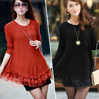 Women Sweater Dress Loose  Knitted Jumper Blouse Long Sleeve Lace Tops Outerwear
