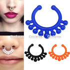 Pair Acrylic Fake Septum Clicker Nose Ring No Piercing Hanger Clip On Jewelry