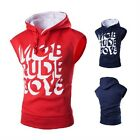 Mens Warm Autumn Sleeveless Hooded Training Gillet Muscle Gym Hoodies Sweatshirt