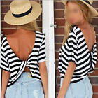 Women Casual Black White Striped Short-sleeved Open Back Twisted T-shirt Tops