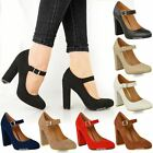 WOMENS LADIES BLOCK HIGH HEELS COURT SHOES MARY JANE STRAPPY FORMAL OFFICE SIZE