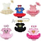 Newborn Baby Girl Batman/Superman Romper Dress Set 2Pcs Outfits Clothes Bodysuit