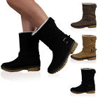 WOMENS QUILTED FAUX FUR BUCKLE GRIP SOLE LADIES WINTER CALF BOOTS SHOES SIZE 3-8
