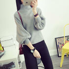 New women's sweater high collar lantern sleeve loose pullover knit sweaters