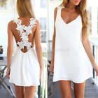 Elegant Spaghetti Straps Floral Halter Cross Playsuits Sexy Lady Backless Dress