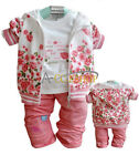 3pcs Baby Girl Xmas Gift Flower Coat Jacket Top T-shirt Pants Outfit Clothes Set