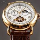 KS Mens Analog Automatic Mechanical 24hours Leather Strap Sport Wrist Watch