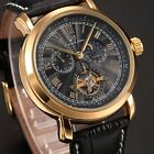 KS Men Analog 24 Hours Leather Strap Tourbillon Wrist Automatic Mechanical Watch
