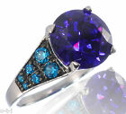 Round 6.58 Ct Amethyst Purple CZ Blue Topaz Engagement Ring Sterling Silver