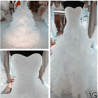 New Stock White/Ivory Organza Wedding Dress Bridal Gown Size: 6 8 10 12 14 16 18