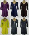 NEW EXCHAINSTORE LADIES DRESS PURPLE BLUE BROWN LIME SLATE GREY GREEN UK 12-20