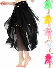 Girls Ladies Belly Dance Skirt in Mid Length Chiffon with Gold Details