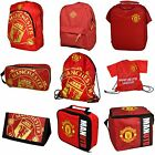 Official Manchester United Football Club Red Backpack / Wallet / Gym / Shoe Bag