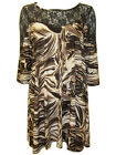 Marina Kaneva FLORAL LACE Yoke Print Tunic Top / Dress BROWN / CREAM Size 18