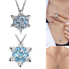 Charm Snowflake Frozen Green / Blue Crystal Flower Necklace Pendant XMAS Gift
