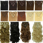 Extra Thick 145g Full Head Clip in on Hair Extensions 8 Piece Black Brown ss89
