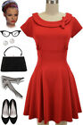 50s Style Pinup Lipstick RED TICKLING THE IVORIES Dress w/Collar & BOW Detailing