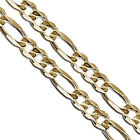 Gold Plated Stainless Steel Figaro Chain 6.6mm New Solid Link Necklace