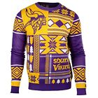 UGLY CHRISTMAS SWEATER NFL MINNESOTA VIKINGS PATCHES FOOTBALL HOLIDAY XMAS CREW