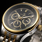 KS Day Date Stainless Steel 6 Hands Automatic Mechanical Mens Wrist Watch