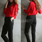 Long Sleeve Chiffon Blouse Shirt Red Casual Loose Tops for Women's Lady Girls