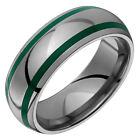 Titanium Green Acrylic Ring Double Groove Inlay Wedding Band Free Size 4 to 14