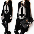 Women Long Sleeve Cotton Top Loose Shirt Round Neck Pullover Gothic Punk Sweater
