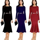 New Elegant Womens Long Sleeve Office Mermaid Pencil Dress Fishtail Bodycon Belt